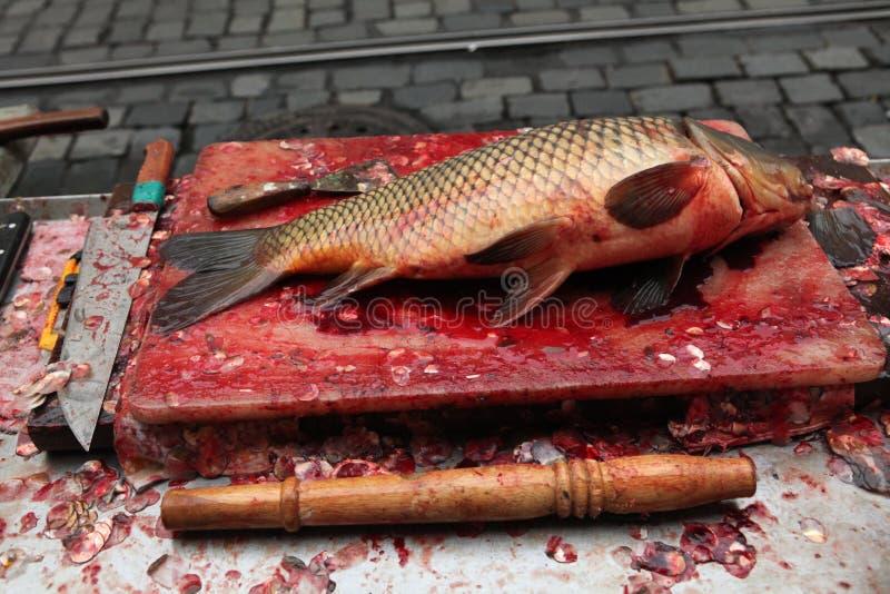 Φρέσκος σκοτωμένος κυπρίνος στην πώληση στην Πράγα, Δημοκρατία της Τσεχίας στοκ εικόνες