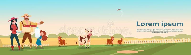 Φρέσκο έμβλημα καλλιέργειας Eco γαλακτοκομικών προϊόντων γάλακτος οικογενειακών αγελάδων αγροτών απεικόνιση αποθεμάτων