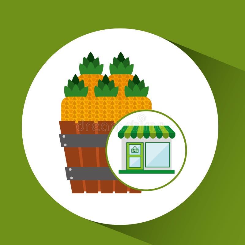 Φρέσκο αγροτικό προϊόν ανανά καταστημάτων απεικόνιση αποθεμάτων