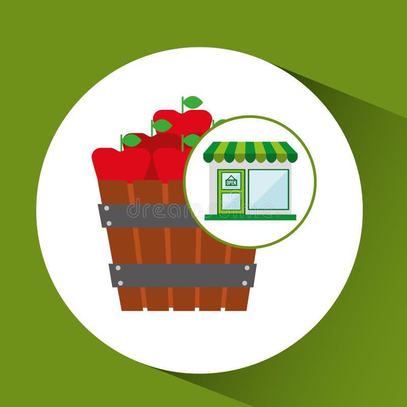 Φρέσκο αγρόκτημα κάδων μήλων καταστημάτων διανυσματική απεικόνιση