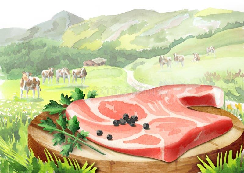 Φρέσκο ακατέργαστο κρέας με τα καρυκεύματα σε ένα πιάτο στο τοπίο με τις αγελάδες ελεύθερη απεικόνιση δικαιώματος