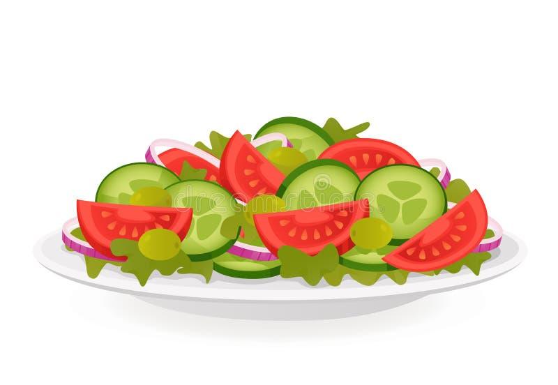 φρέσκο λαχανικό ντοματών σαλάτας μιγμάτων μαρουλιού αγγουριών διανυσματική απεικόνιση