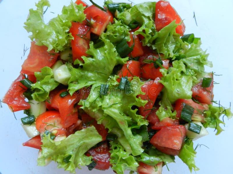 φρέσκο λαχανικό ντοματών σαλάτας μιγμάτων μαρουλιού αγγουριών στοκ φωτογραφίες