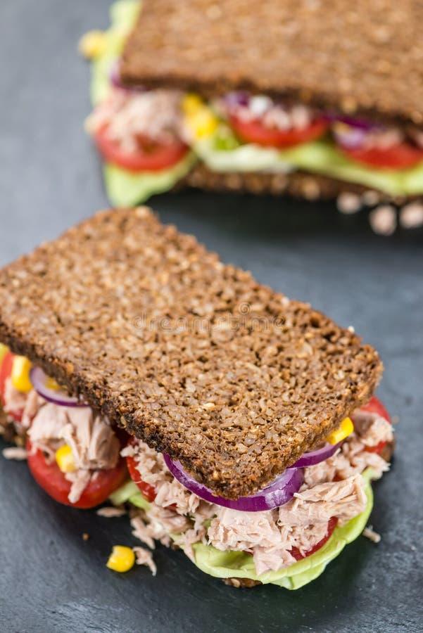 Φρέσκο γίνοντα σάντουιτς τόνου με την εκλεκτική εστίαση wholemeal ψωμιού στοκ φωτογραφία με δικαίωμα ελεύθερης χρήσης