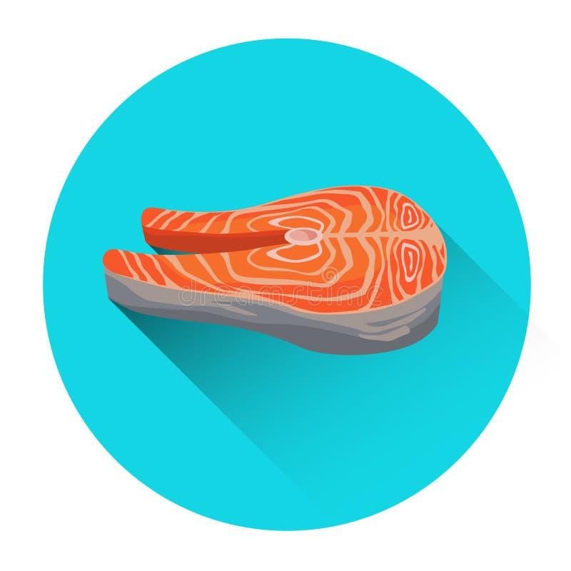 Φρέσκο εικονίδιο τροφίμων ψαριών θαλασσινών μπριζόλας σολομών απεικόνιση αποθεμάτων