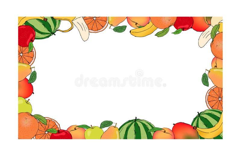 Φρέσκο θερινό χρωματισμένο φρούτα πλαίσιο, editable διανυσματική απεικόνιση απεικόνιση αποθεμάτων