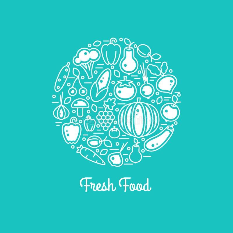 Φρέσκο διανυσματικό σύνολο τροφίμων διανυσματική απεικόνιση