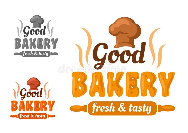 Φρέσκο και νόστιμο έμβλημα αρτοποιείων απεικόνιση αποθεμάτων