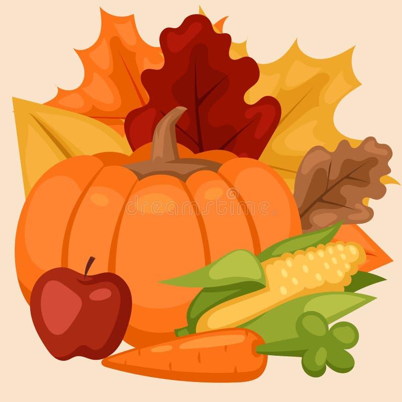 Φρέσκο κολοκύθας οργανικό υγιές χορτοφάγο φυτικό διάνυσμα τροφίμων ημέρας των ευχαριστιών διακοσμητικό εποχιακό ώριμο απεικόνιση αποθεμάτων