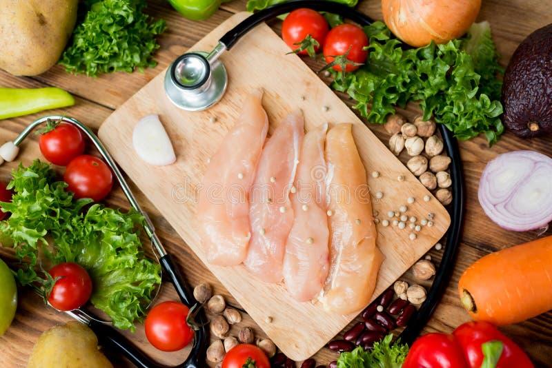 Φρέσκο κοτόπουλο με τη σαλάτα υγιή και τα τρόφιμα διατροφής στοκ φωτογραφίες