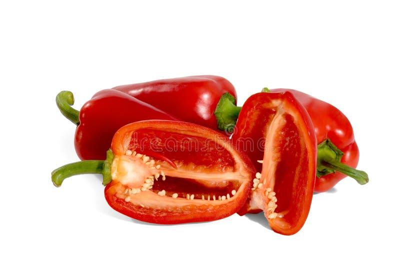 Φρέσκο, κόκκινο πιπέρι, στο άσπρο υπόβαθρο στοκ εικόνες