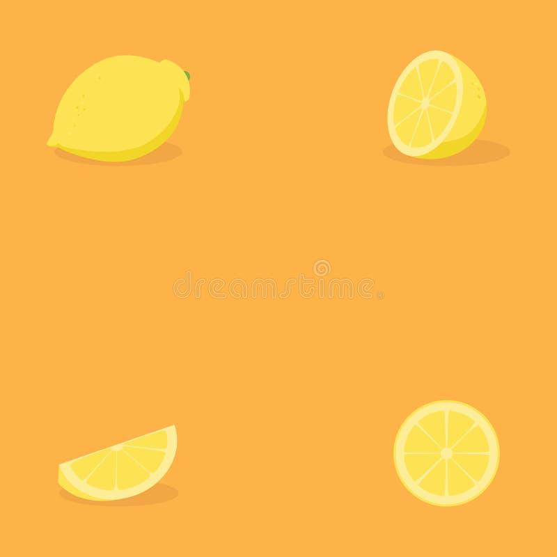 Φρέσκο λεμόνι τεσσάρων φετών για το σχέδιο ελεύθερη απεικόνιση δικαιώματος