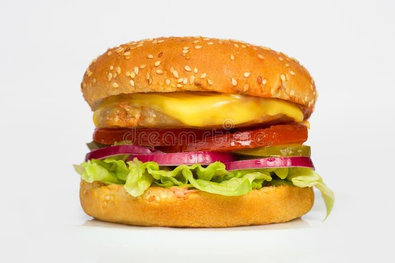 Φρέσκο νόστιμο burger στο άσπρο υπόβαθρο στοκ φωτογραφία με δικαίωμα ελεύθερης χρήσης