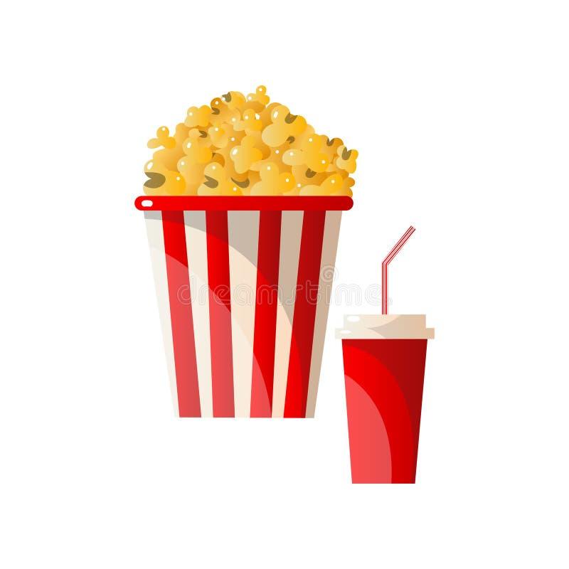 Φρέσκο νόστιμο popcorn ριγωτό καλάθι με την πλαστική κόλα γυαλιού απεικόνιση αποθεμάτων