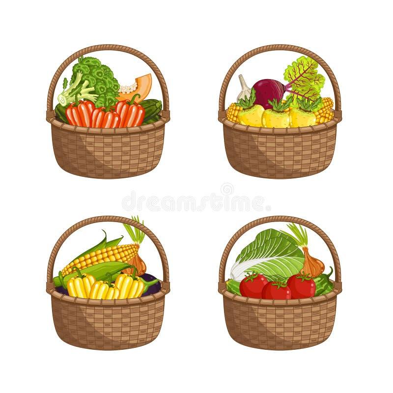Φρέσκο οργανικό λαχανικό στο ψάθινο σύνολο καλαθιών ελεύθερη απεικόνιση δικαιώματος