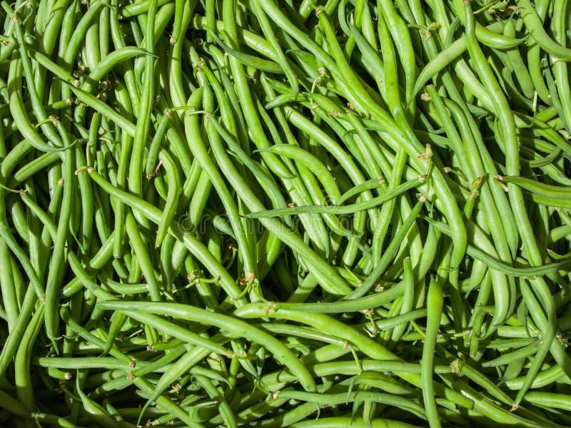 Φρέσκο οργανικό πράσινο υπόβαθρο φασολιών, στη δίκαιη αγορά χωρών στοκ φωτογραφία