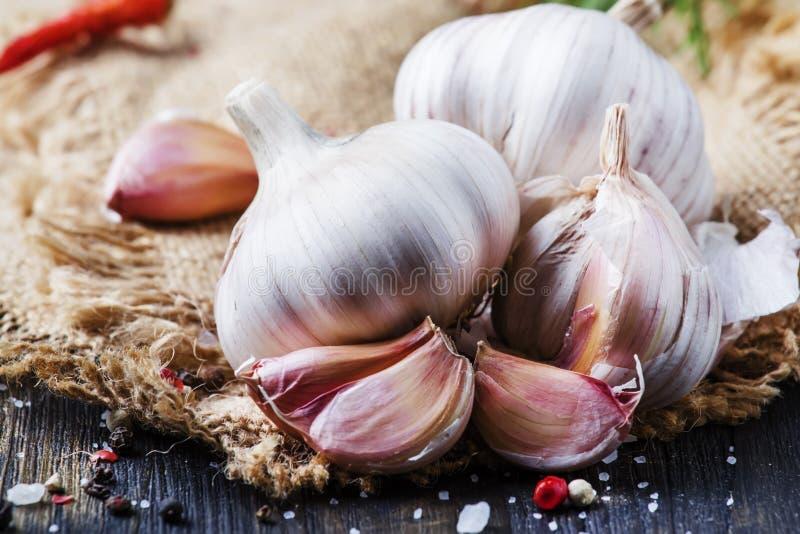 Φρέσκο σκόρδο, αλάτι θάλασσας, πιπέρι και καρυκεύματα, αγροτικό ύφος, selecti στοκ φωτογραφίες με δικαίωμα ελεύθερης χρήσης