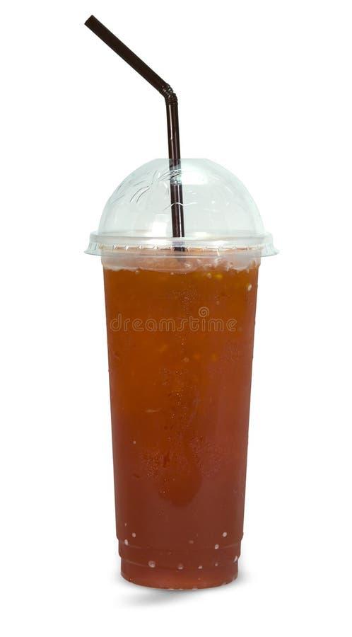 Φρέσκο τσάι πάγου στο πλαστικό γυαλί στοκ φωτογραφία