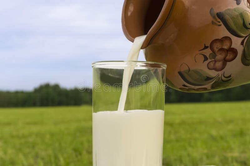 Φρέσκο φυσικό γάλα σε μια κανάτα στοκ εικόνες