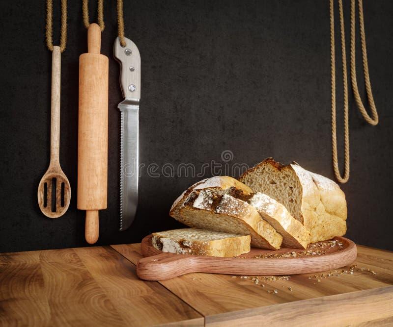 Φρέσκο ψωμί με τη βρώμη που τεμαχίζεται σε ένα τέμνον διάστημα αντιγράφων υποβάθρου φωτογραφιών πινάκων πλακών στοκ φωτογραφία