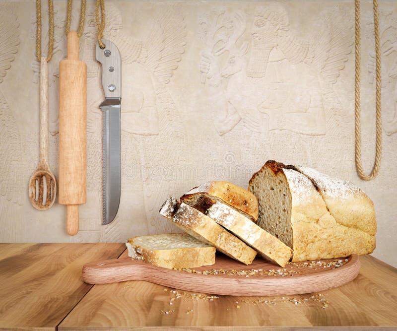 Φρέσκο ψωμί με τη βρώμη που τεμαχίζεται σε ένα τέμνον διάστημα αντιγράφων υποβάθρου φωτογραφιών πινάκων πλακών στοκ φωτογραφία με δικαίωμα ελεύθερης χρήσης