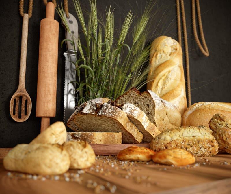 Φρέσκο ψωμί με το σίτο σε ένα τέμνον διάστημα αντιγράφων υποβάθρου πινάκων και φωτογραφιών πλακών στοκ φωτογραφίες με δικαίωμα ελεύθερης χρήσης