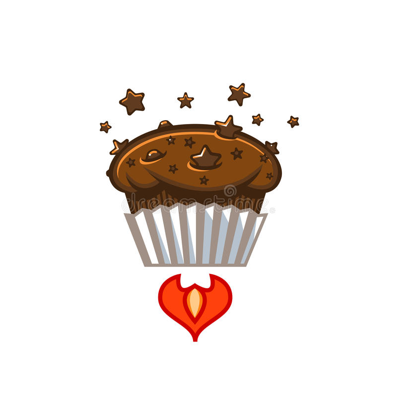 Φρέσκο muffin τσιπ αστεριών σοκολάτας διαστημικό πρότυπο διανυσματική απεικόνιση