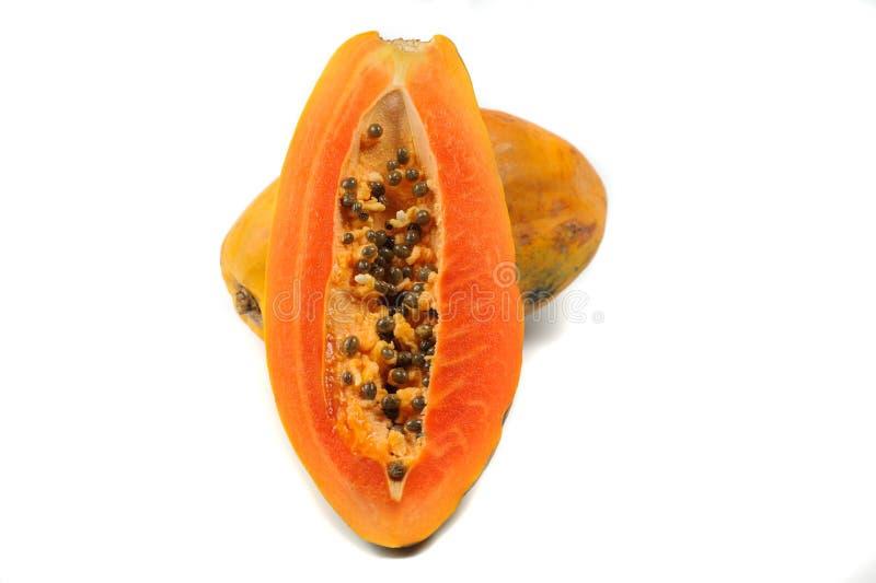 Φρέσκο papaya που απομονώνεται στο άσπρο υπόβαθρο στοκ φωτογραφίες με δικαίωμα ελεύθερης χρήσης