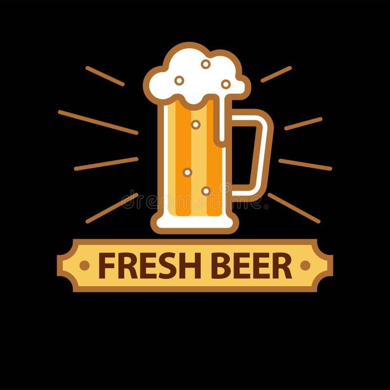 Φρέσκο promo μπύρας logotype με την πλήρη κούπα γυαλιού ελεύθερη απεικόνιση δικαιώματος