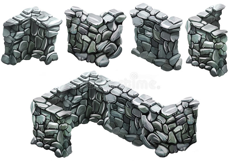 Φραγή τούβλου και πετρών διανυσματική απεικόνιση