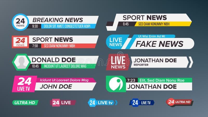 Φραγμοί ειδήσεων TV καθορισμένοι διανυσματικοί Σημάδι του χαμηλότερου τρίτου ζήστε ειδήσεις, υπερβολικό HD Εμβλήματα για τη ραδιο διανυσματική απεικόνιση