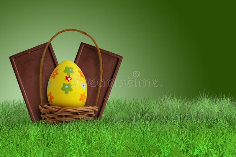 Φραγμοί και καλάθι σοκολάτας Πάσχας ελεύθερη απεικόνιση δικαιώματος