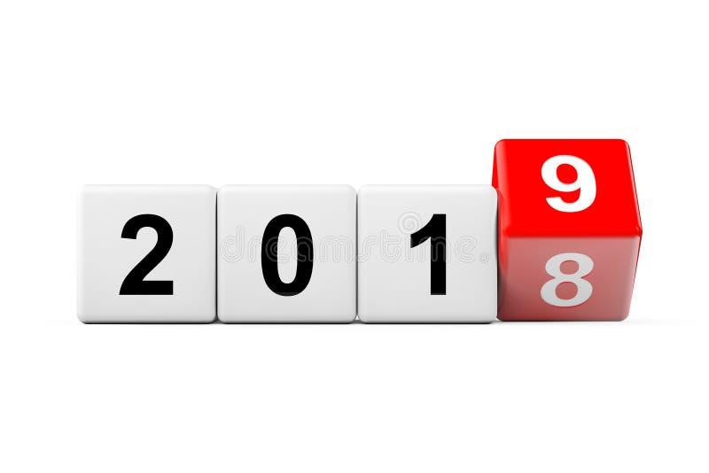 Φραγμοί με τη μετάβαση από το έτος 2018 ως 2019 τρισδιάστατη απόδοση ελεύθερη απεικόνιση δικαιώματος