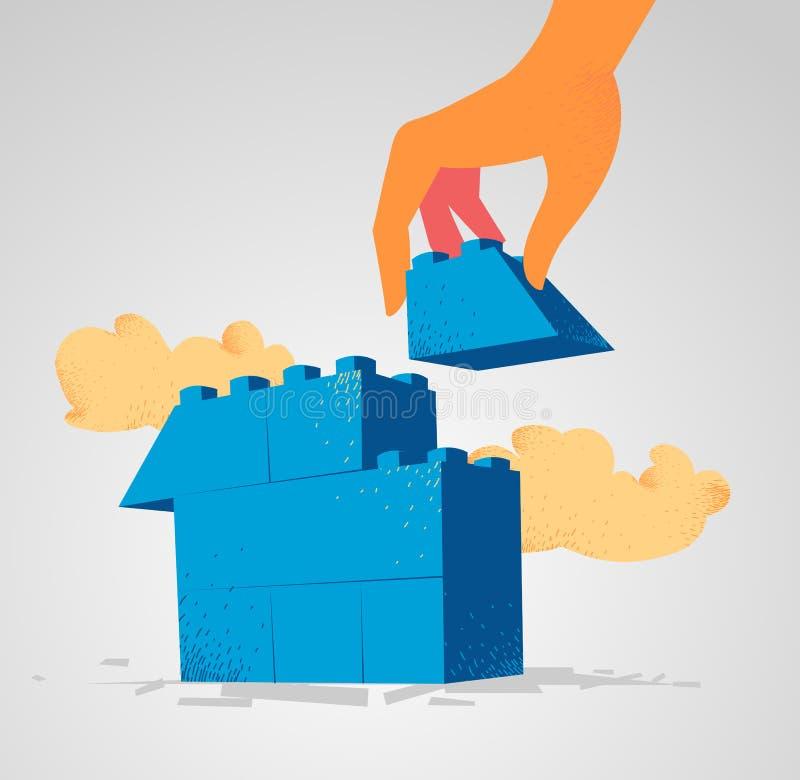 Φραγμοί Lego που συγκεντρώνονται για να χτίσει ένα σπίτι στοκ εικόνες