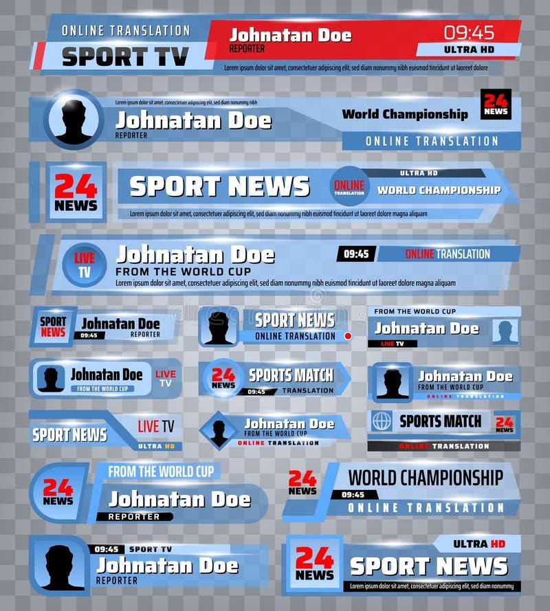 Φραγμοί TV των αθλητικών ειδήσεων, ρέοντας εμβλήματα ραδιοφωνικής μετάδοσης απεικόνιση αποθεμάτων