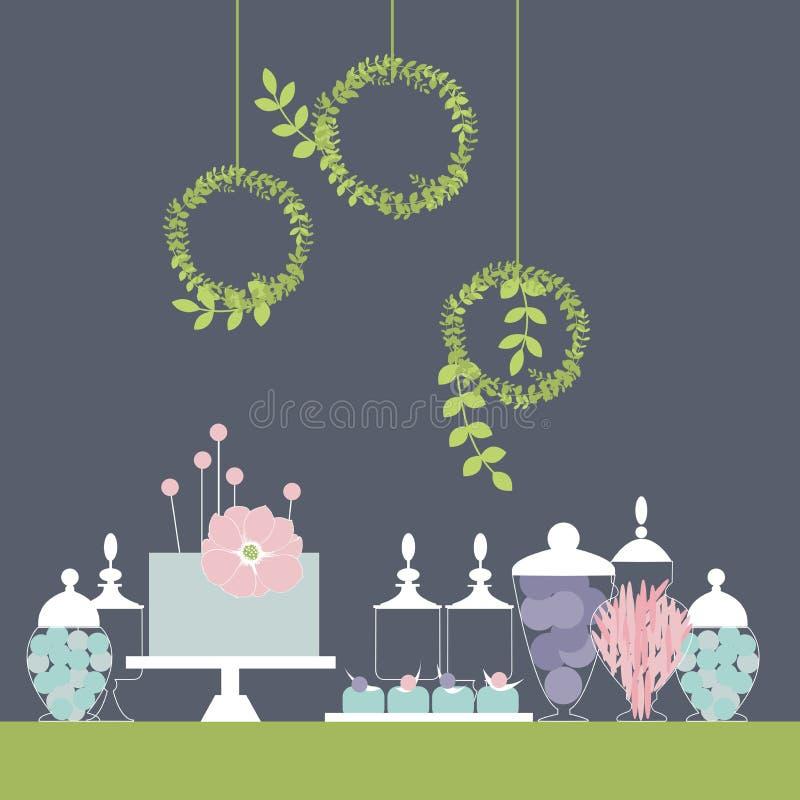 Φραγμός γαμήλιων επιδορπίων με το κέικ γλυκός πίνακας ελεύθερη απεικόνιση δικαιώματος