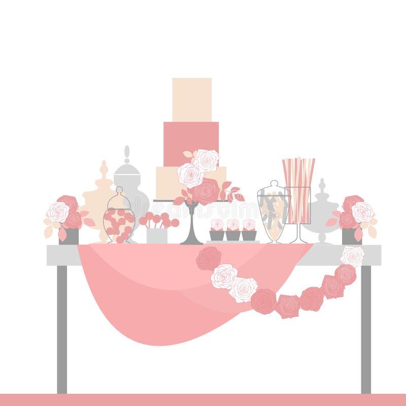 Φραγμός γαμήλιων καραμελών με το κέικ και τα λουλούδια Πίνακας επιδορπίων διανυσματική απεικόνιση