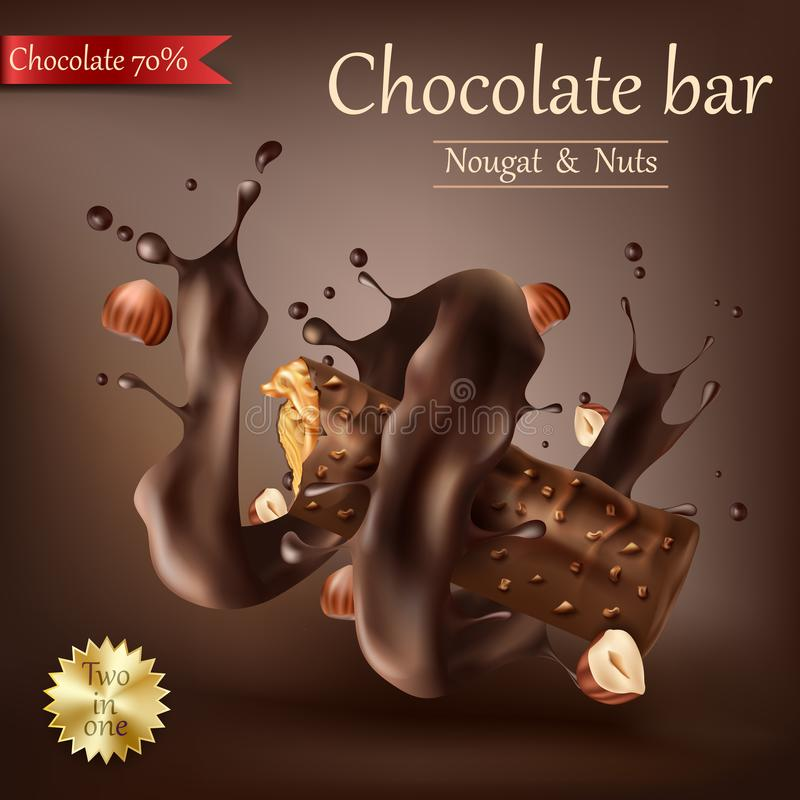 Φραγμός γλυκιάς σοκολάτας με λειωμένη τη σπείρα σοκολάτα διανυσματική απεικόνιση