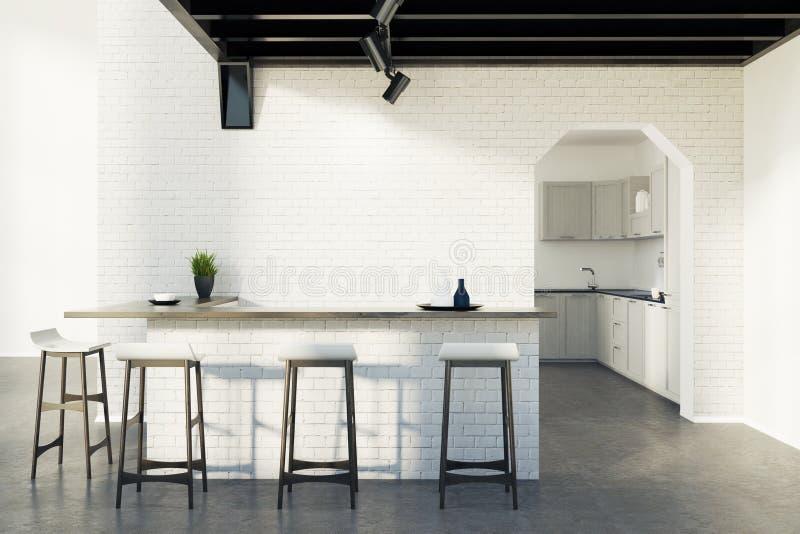 Φραγμός κουζινών τούβλου, σκαμνιά και μια πόρτα, γκρίζα απεικόνιση αποθεμάτων