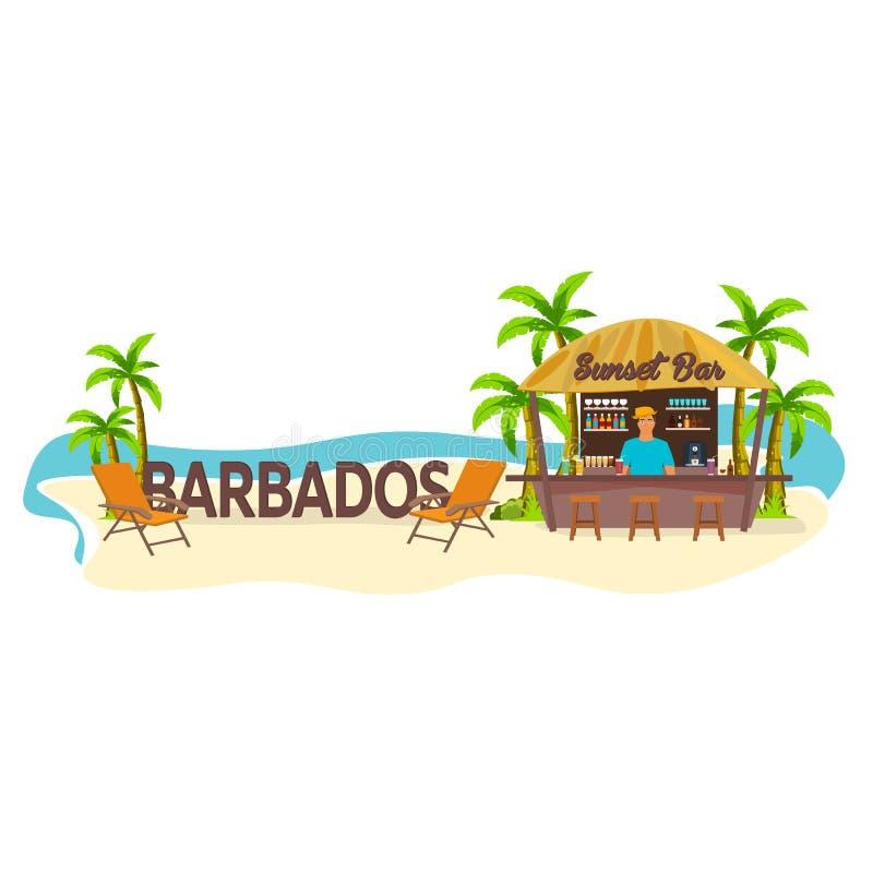 Φραγμός παραλιών _ Ταξίδι Φοίνικας, ποτό, καλοκαίρι, καρέκλα σαλονιών, τροπική απεικόνιση αποθεμάτων