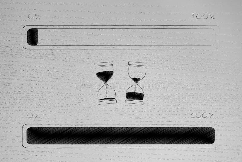 Φραγμός προόδου από την αρχή στην ολοκλήρωση μιας διαδικασίας με το libefore μετά από τις κλεψύδρες μέσα - μεταξύ τους στοκ φωτογραφία με δικαίωμα ελεύθερης χρήσης