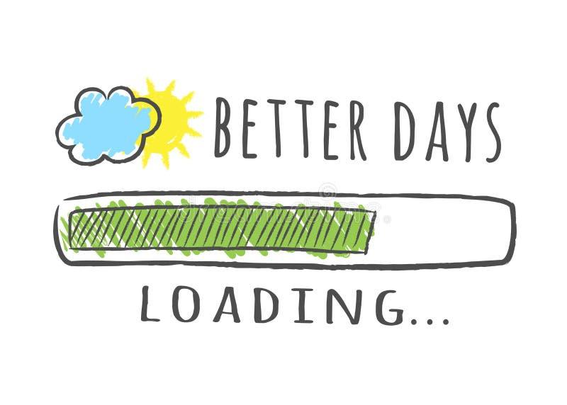Φραγμός προόδου με την επιγραφή - καλύτερη φόρτωση και ήλιος ημερών με το σύννεφο στο περιγραμματικό ύφος διανυσματική απεικόνιση