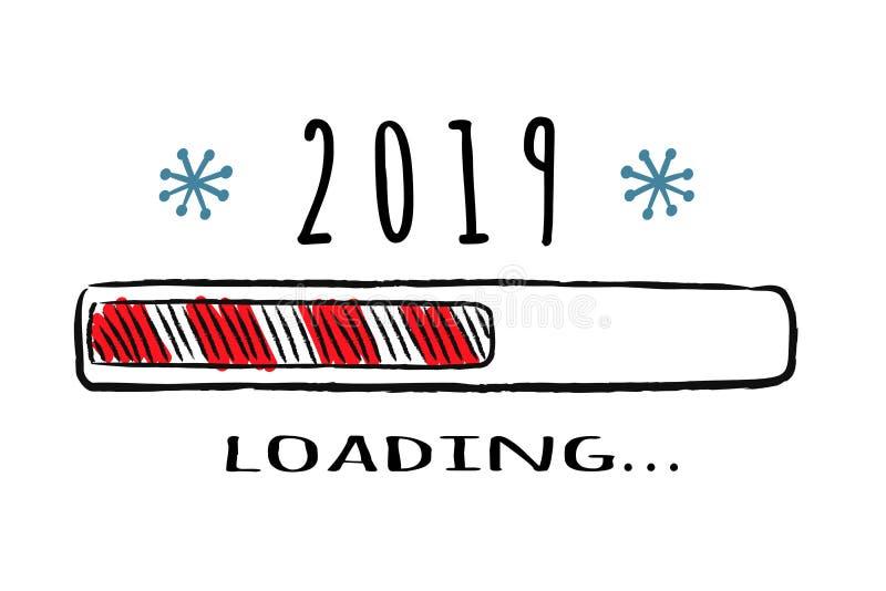 Φραγμός προόδου με την επιγραφή - 2019 που φορτώνει στο περιγραμματικό ύφος Διανυσματικά Χριστούγεννα, νέα απεικόνιση έτους διανυσματική απεικόνιση