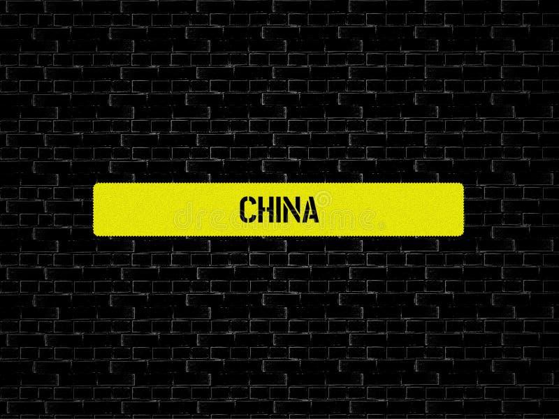 Φραγμός σε κίτρινο η λέξη ΚΙΝΑ επιδεικνύεται Το υπόβαθρο είναι μαύρο με τα κεραμίδια στοκ φωτογραφίες