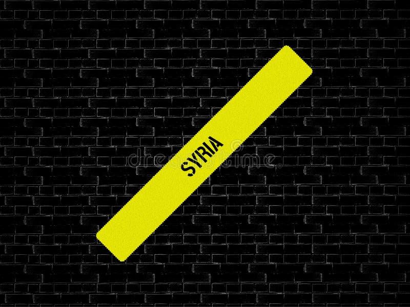 Φραγμός σε κίτρινο η λέξη ΣΥΡΙΑ επιδεικνύεται Το υπόβαθρο είναι μαύρο με τα κεραμίδια στοκ εικόνες