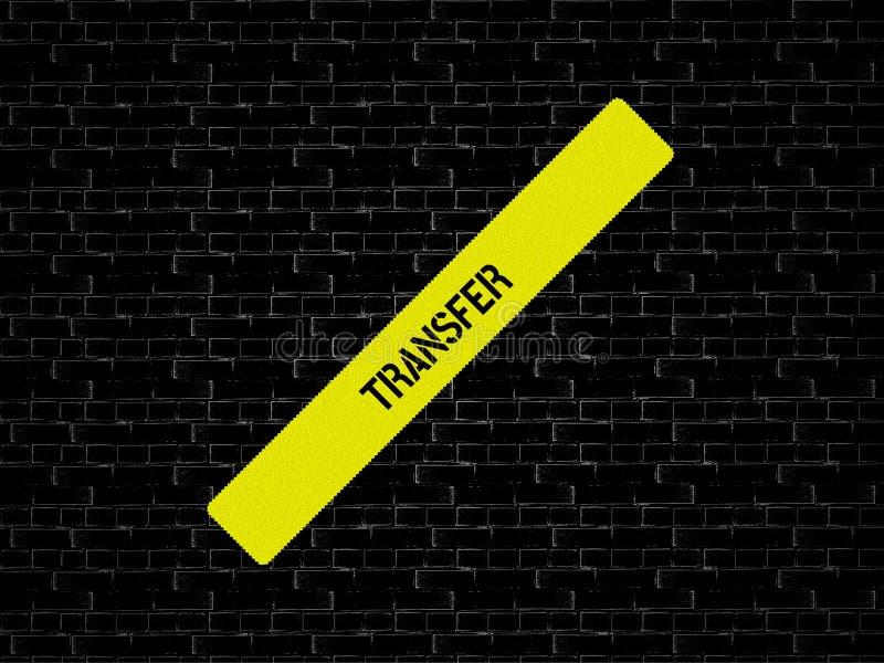 Φραγμός σε κίτρινο η ΜΕΤΑΦΟΡΑ λέξης επιδεικνύεται Το υπόβαθρο είναι μαύρο με τα κεραμίδια στοκ εικόνες