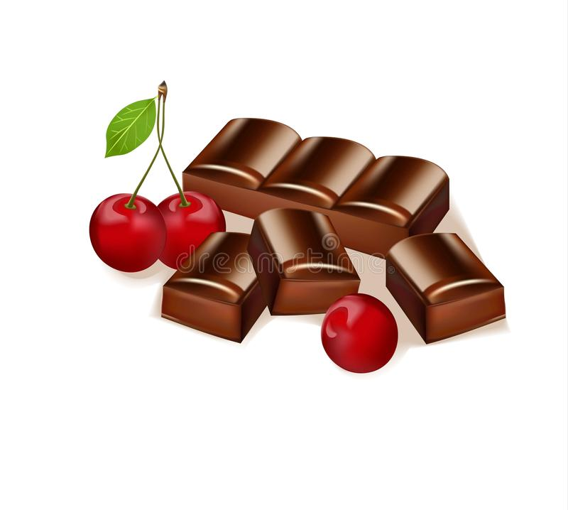 Φραγμός σοκολάτας γεύσης κερασιών εύγευστη απεικόνιση επι& ελεύθερη απεικόνιση δικαιώματος