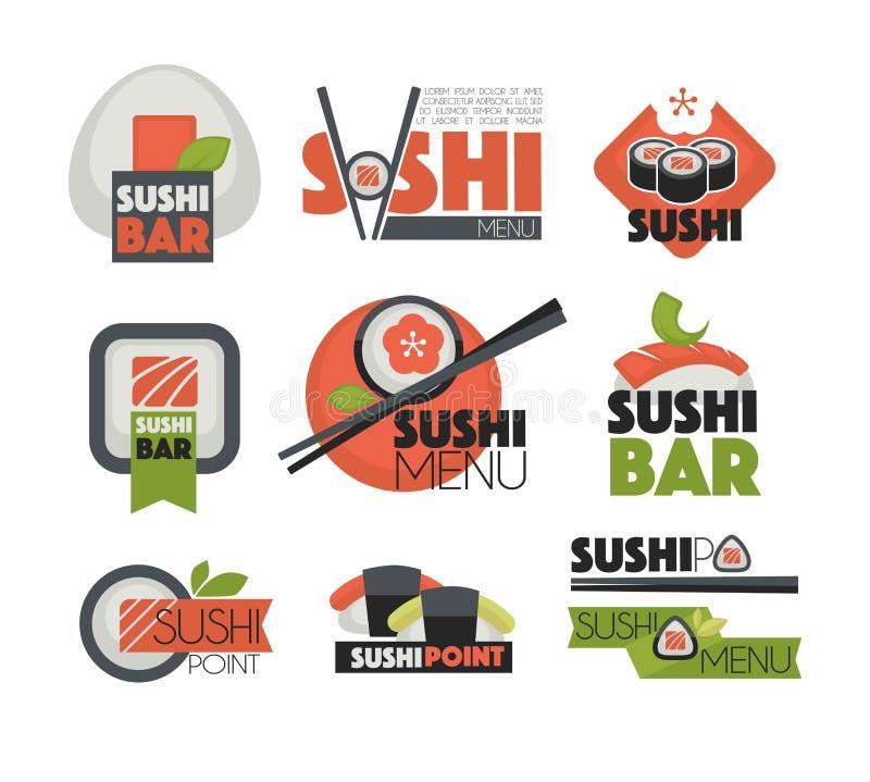 Φραγμός σουσιών ή ιαπωνικά chopsticks εστιατορίων διανυσματικά επίπεδα πρότυπα ετικετών ελεύθερη απεικόνιση δικαιώματος