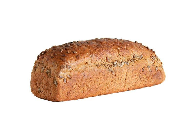 Φραντζόλα του ψωμιού σίκαλης με τους σπόρους άσπρος απομονώστε στοκ φωτογραφίες με δικαίωμα ελεύθερης χρήσης