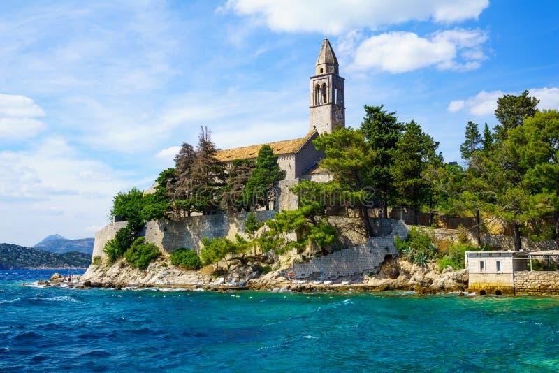Φραντσησθανό μοναστήρι, Lopud στοκ εικόνες